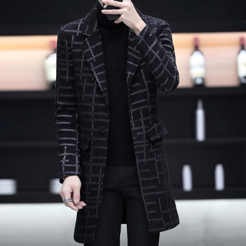 男士格子大衣冬季中长款男呢子外套青年修身韩版潮流学生妮子风衣