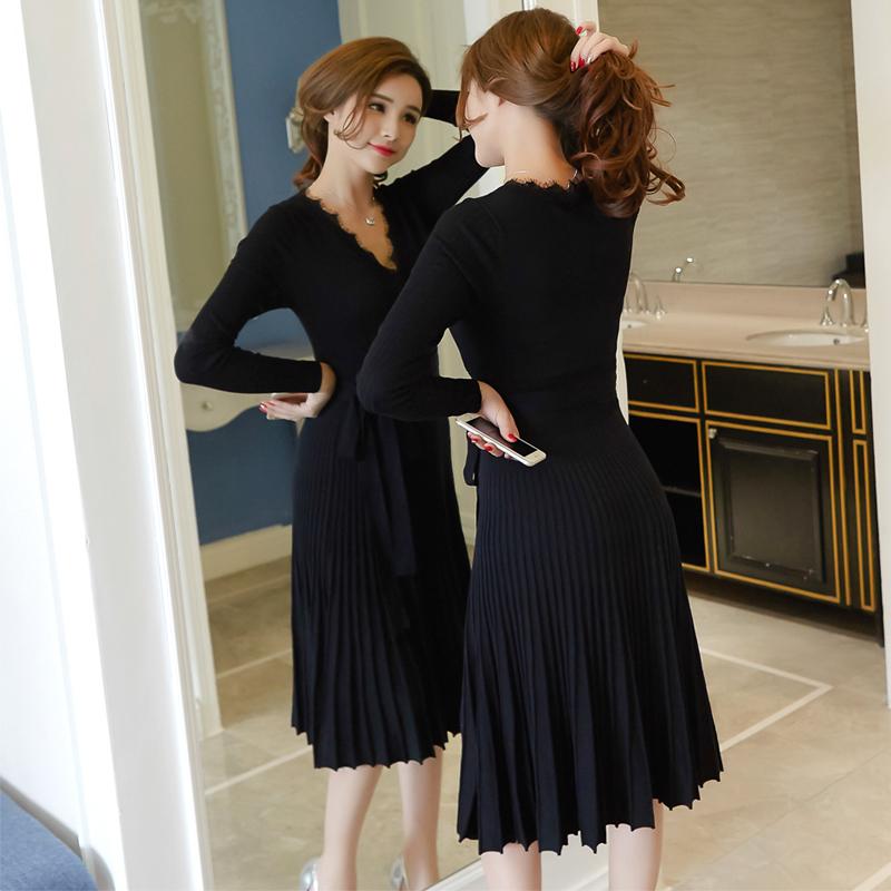 韩版小黑裙打底内搭针织连衣裙