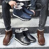 冬季雪地靴男士短靴精神社会小伙高帮鞋防水保暖加绒棉鞋马丁靴男