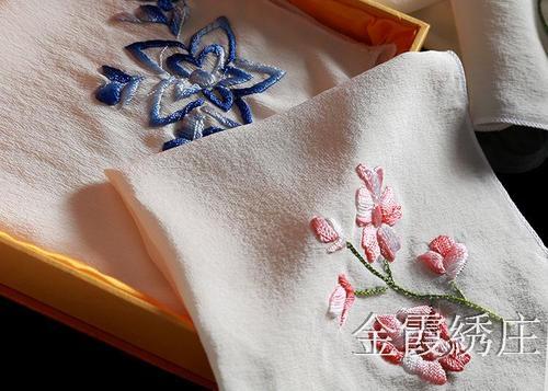 金霞湘绣纯手工刺绣高级桑蚕丝方巾小手帕出国礼品一条礼盒装特惠