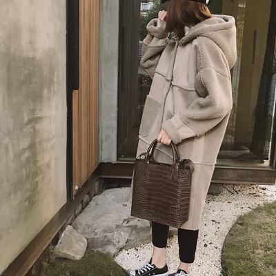 羊羔绒拼接麂皮绒皮毛一体 韩国连帽宽松休闲中长款加厚棉衣外套