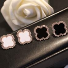 韩国版黑白生日礼品女式电镀合金创意新镶钻大小春夏四叶草耳钉