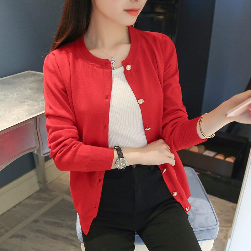 2016新款韩版女装长袖圆领外搭毛衣小外套春季针织小开衫女针织衫