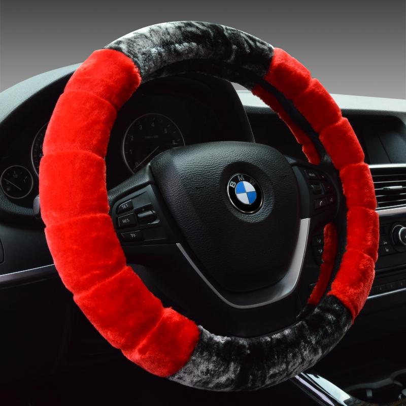 大众POLO毛绒冬季方向盘套把套汽车用品内饰品改装适用于配件