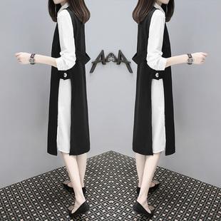 2017秋装新款宽松大码中长款连衣裙气质衬衫裙黑色马甲两件套装裙