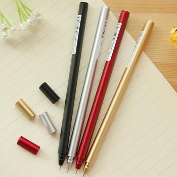 韩国文具 金属质感中性笔创意水性笔红笔 最新注册白菜全讯网黑色碳素签字笔0.5