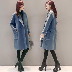 2017冬装新款韩版毛呢外套显瘦宽松中长款加厚茧型羊毛呢子大衣女