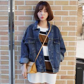 时尚起义韩国代购秋冬BF宽松复古长袖纯色牛仔外套681195