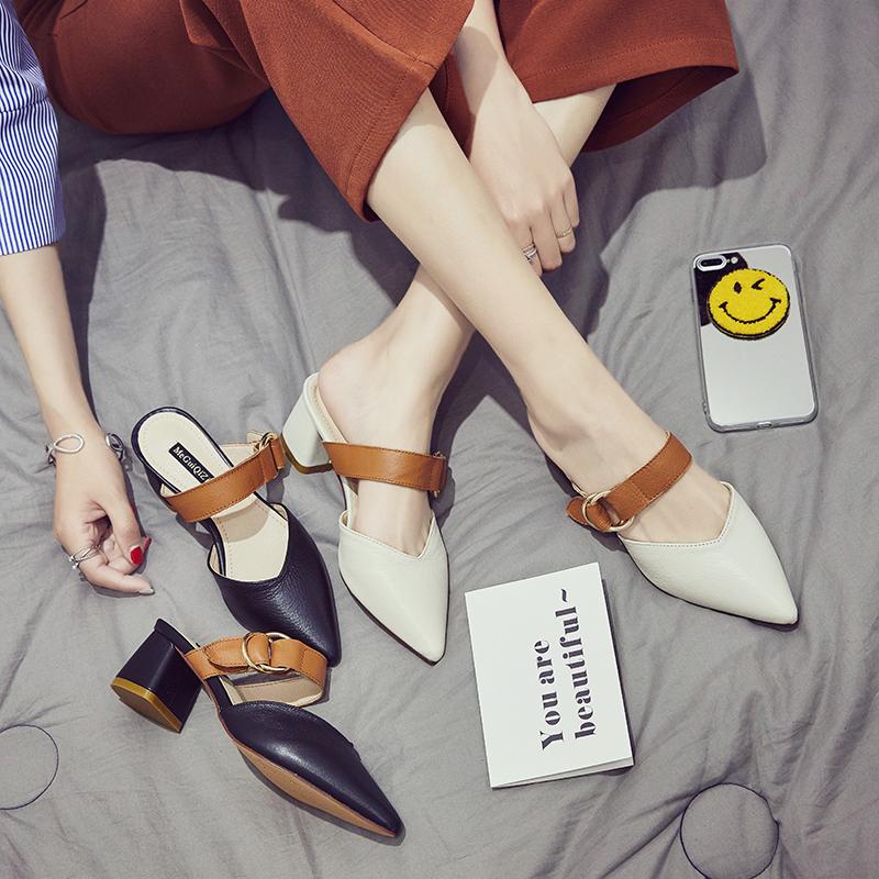 时尚韩版一字单鞋搭扣舒适 尖头真皮女凉拖
