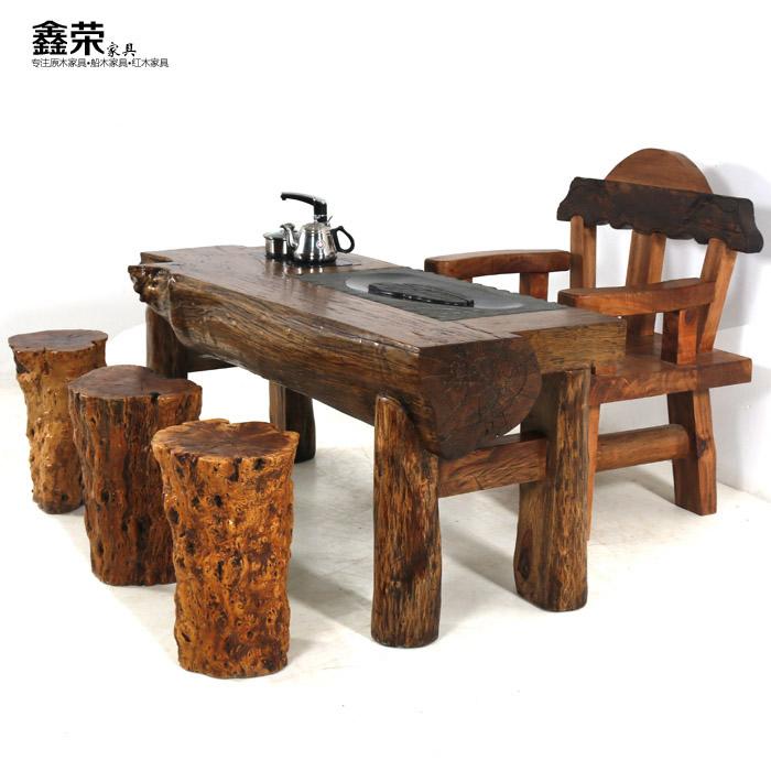 中式实木原木茶几茶台茶桌椅组合套装高档樟木原材仿古功夫茶泡茶