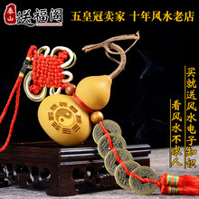 开光风水天然葫芦挂件文玩葫芦摆件 家居装饰品五帝钱镇宅铜钱