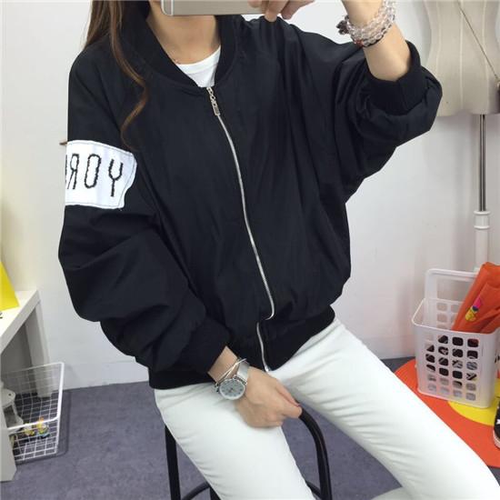 16韩版春秋新款学生情侣长袖开衫女学院风原宿BF字母棒球服外套潮