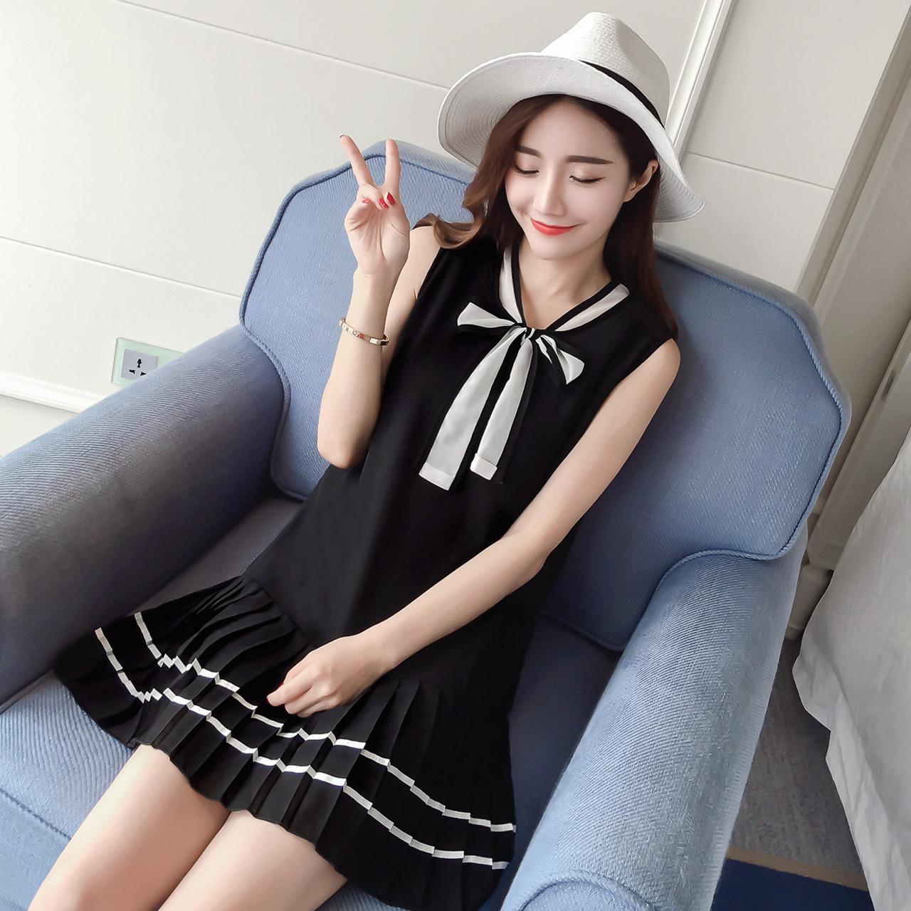 1琇婵-fh83 新款2016夏装韩版女装百褶系带无袖雪纺连衣裙F-23