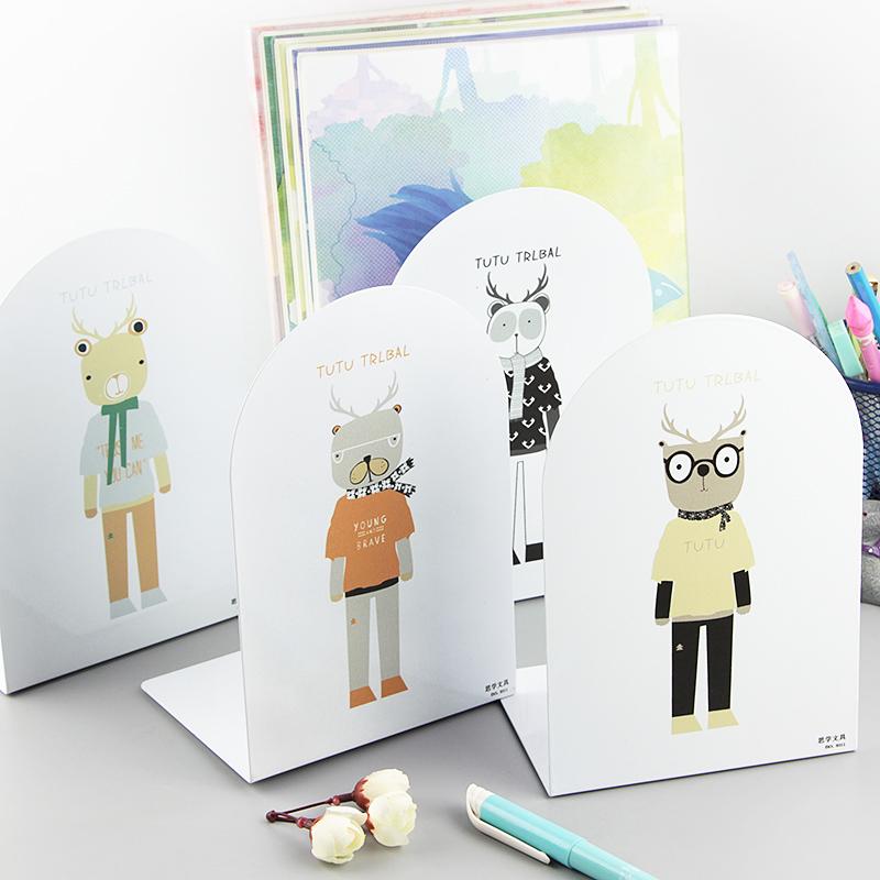 创意卡通书立彩色金属书架学生书夹书靠书挡创意挡板文具2片包邮