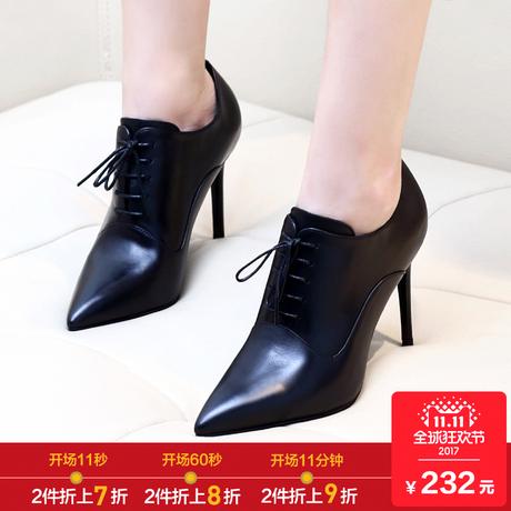 尖头高跟鞋女细跟鞋子女2018春季新款真皮百搭系带黑色深口单鞋女商品大图