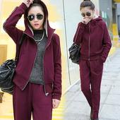 2016秋冬季休闲运动套装女加绒加厚大码开衫卫衣两件套韩版女装潮