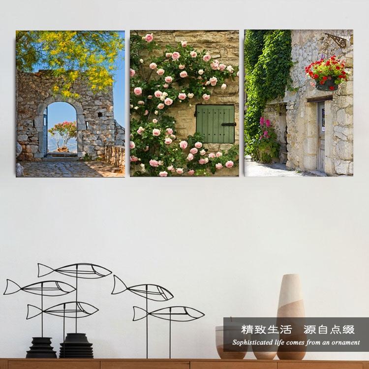 现代欧式风景客厅装饰画玄关地中海田园无框挂画卧室