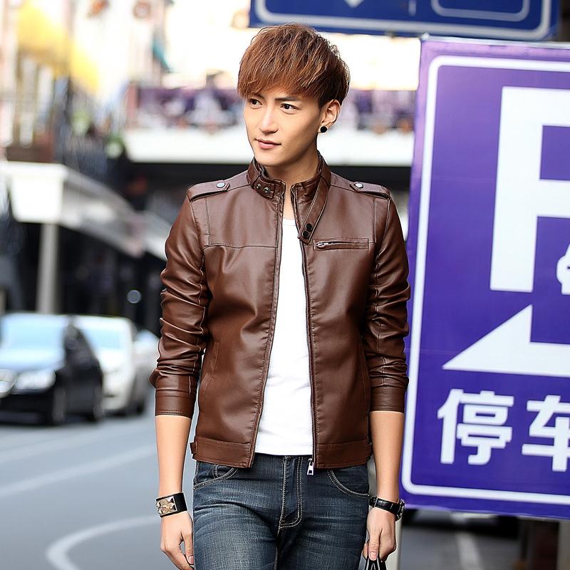 皮衣常规男装青年外套仿皮皮衣立领修身型新款2016青春流行春季