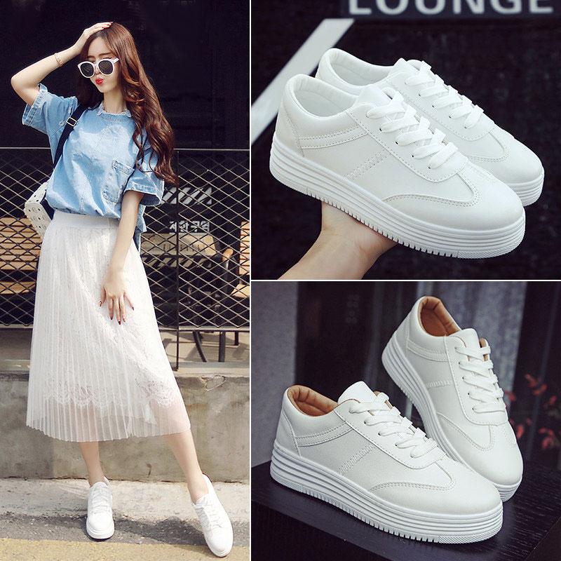 韓版潮學生運動鞋白色休閑鞋平底板鞋女春季小白鞋女