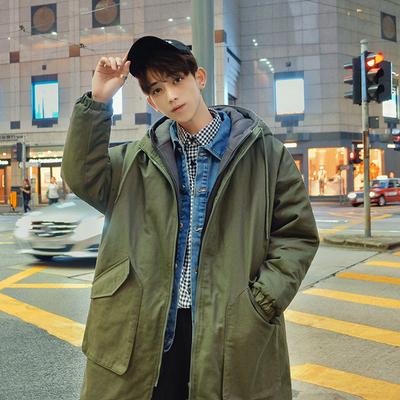 子俊冬季中长款棉衣男士韩版风衣学生棉服军绿色假两件外套大棉袄