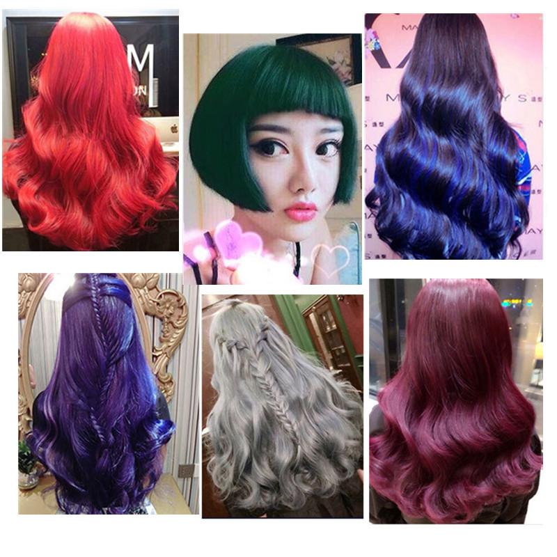 头发打蜡膏抛光护理透明色蓝色绿色紫色玫瑰红色奶奶灰染发剂韩国