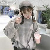 卫衣女上衣韩版 学生潮 秋冬韩国原宿风宽松bf加厚呢绒格子套头长袖
