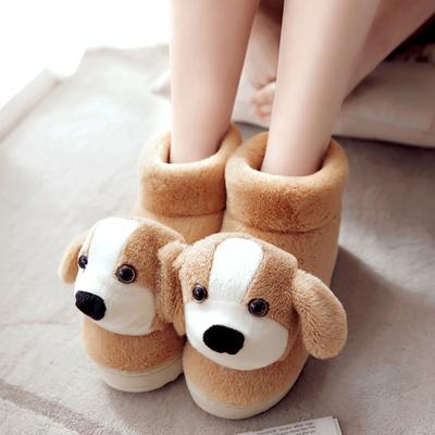 厚底保暖棉拖鞋包跟毛绒卡通家居家鞋冬季情侣可爱月子毛拖鞋女式
