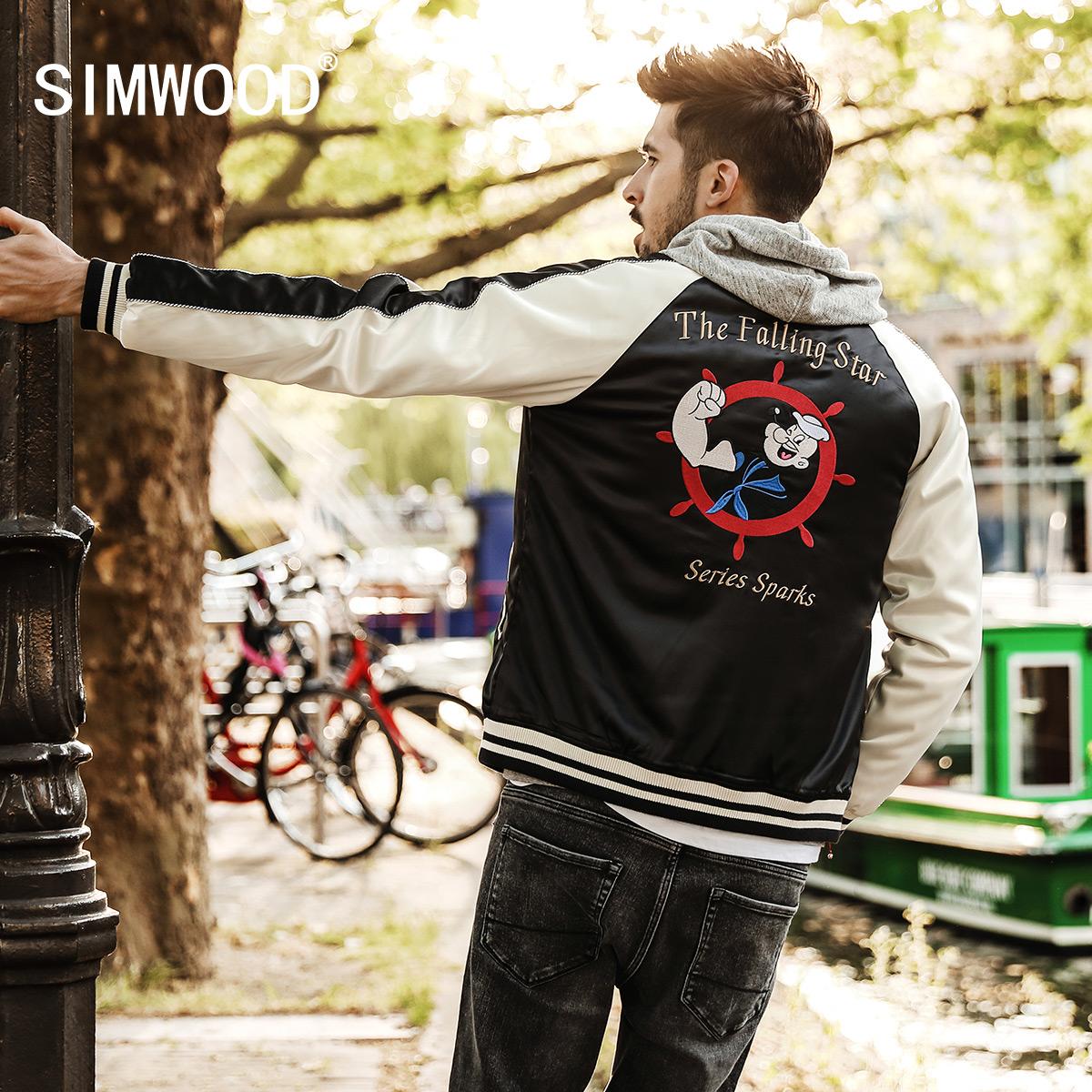 Simwood秋冬新款夹棉厚款动漫绣花立领修身插肩袖撞色夹克男外套