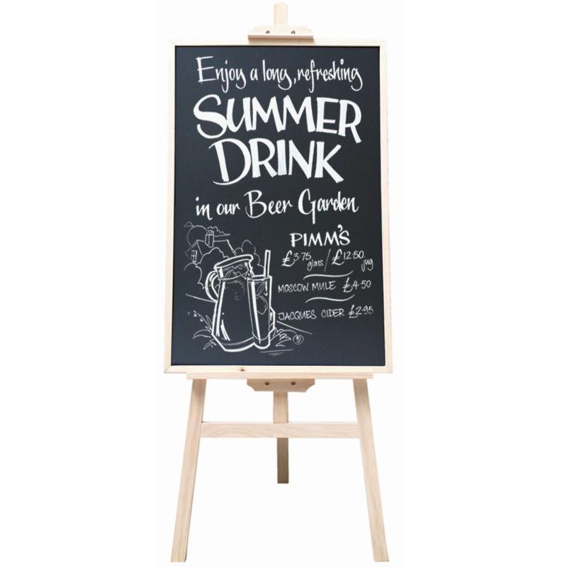 原木质立式黑板支架式木架子 店铺挂式宣传海报展示菜单广告黑板