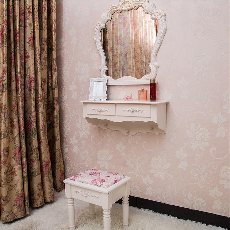 壁挂梳妆台镜卧室韩式欧式现代简约白色田园小户型台