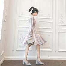 大喜自制 原创秋季新款彩虹竖条纹 复古拼接波点裙长短可选连衣裙