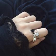韩范儿简约手作迷你流苏亮钻天然珍珠金属风吊坠设计戒指女J016