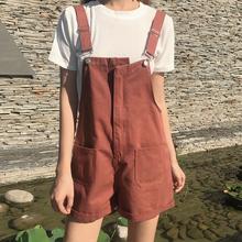 夏季新款韩版宽松显瘦阔腿裤学生连体背带裤百搭复古牛仔裤短裤女