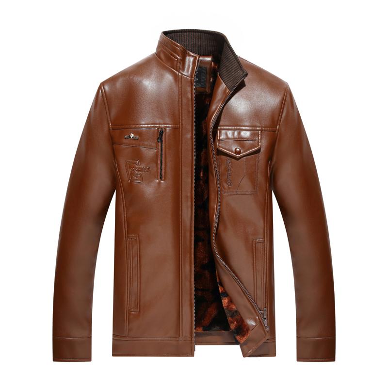 春秋冬男士中老年立领皮夹克薄款里布款男爸爸装宽松皮衣休闲外套