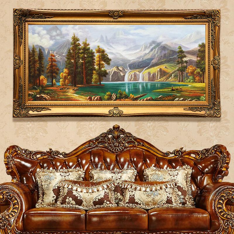欧式手绘山水风景油画客厅装饰画美式餐厅挂画大气别墅壁画鹿定制