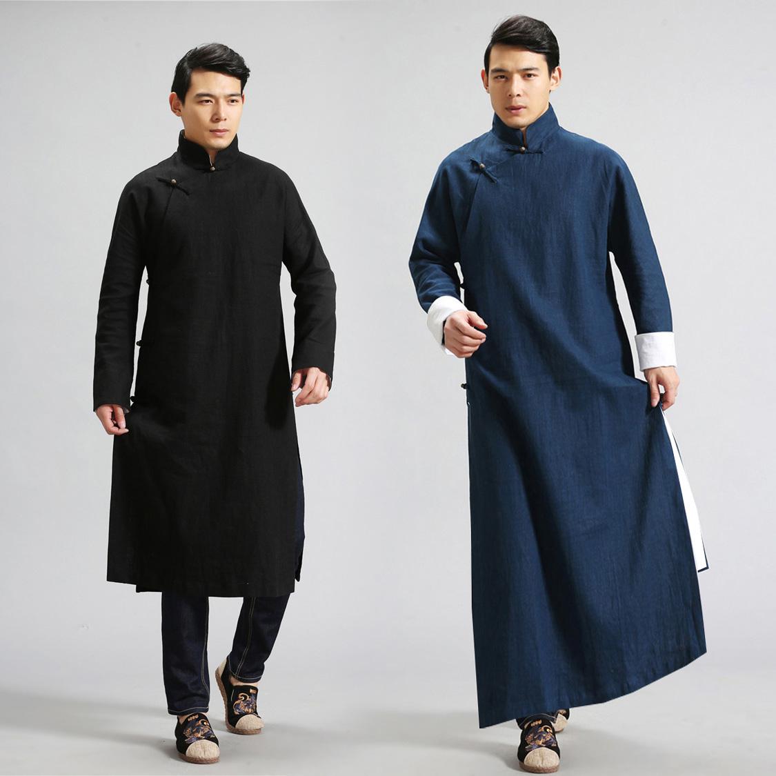 相声大褂_中国风男装复古棉麻长衫相声服评书大褂民国服装中式长袍子民国装