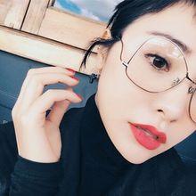 宋茜井柏然同款金属圆球平光镜潮女装饰框架眼镜架大框可配近视镜