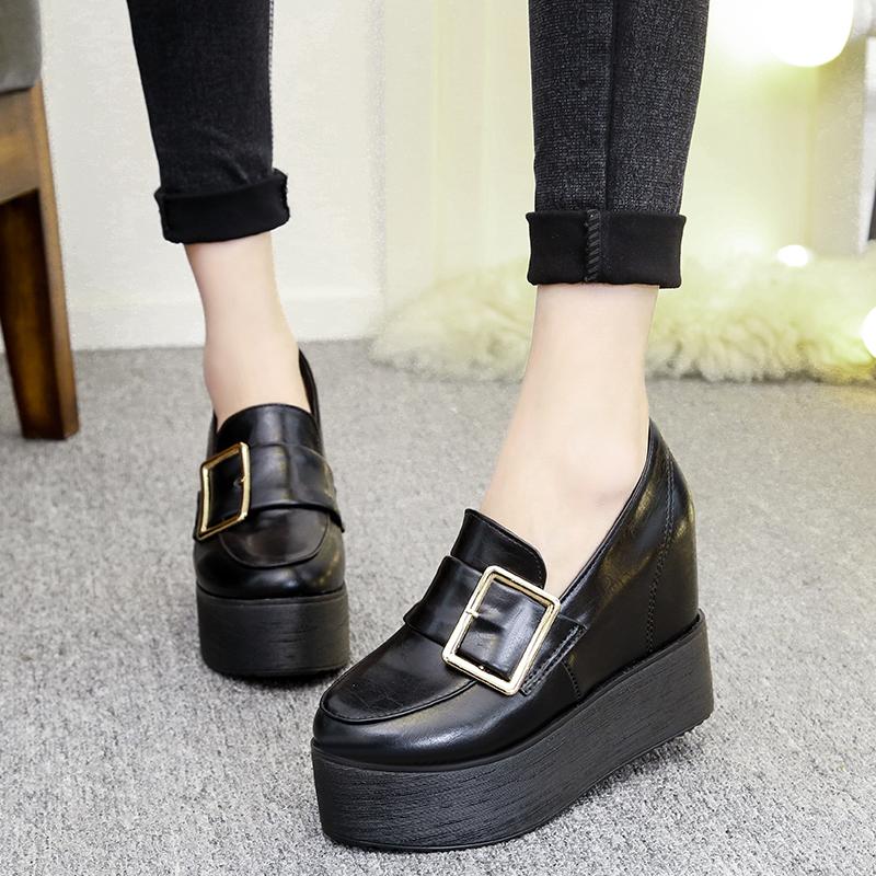 厚底松糕鞋坡跟内增高女士单鞋11cm浅口套脚超高跟搭扣圆头低帮鞋