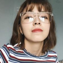韩国ulzzang网红原宿瘦脸框架复古全透明白色平光镜潮人眼镜男女