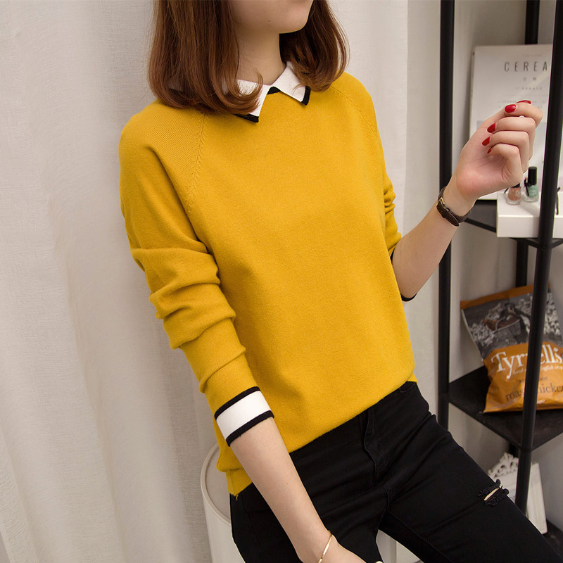 秋冬甜美可爱娃娃领线衣 有带领短款套头毛衣 纯色内搭女士打底衫