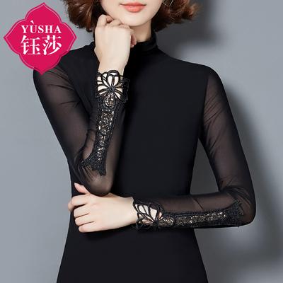 秋冬高领蕾丝衫女长袖加绒修身显瘦小衫百搭加厚上衣网纱打底衫衣