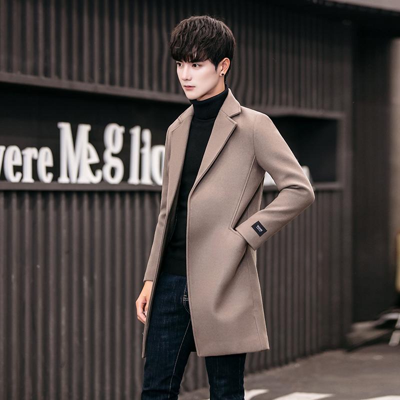 2017新款冬季韩版潮流帅气中长款风衣男青年呢子大衣加厚男士外套