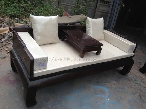 罗汉床 现代实木黑色沙发 新中式沙发 别墅沙发组合 明清古典家具