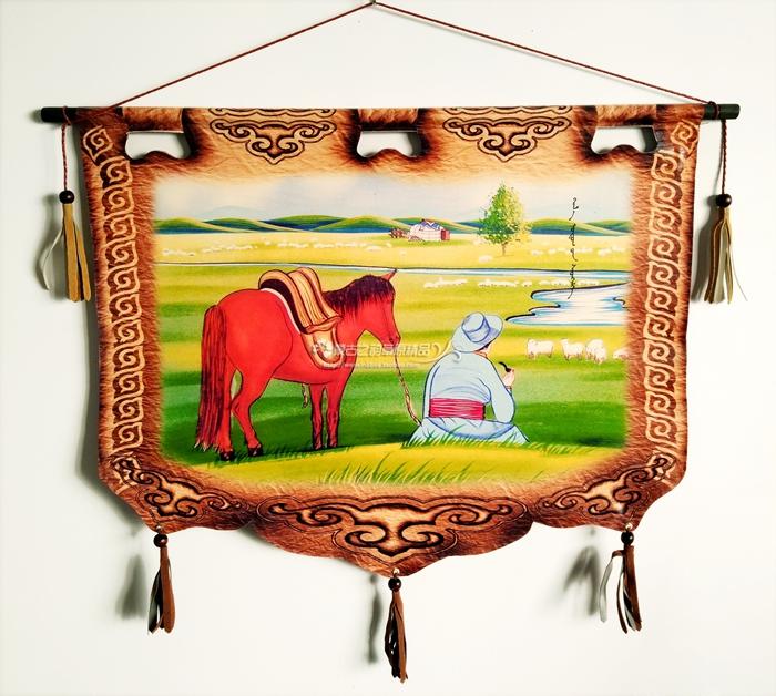 蒙古皮画 内蒙古特色工艺品蒙古族特色手工挂画装饰画图片