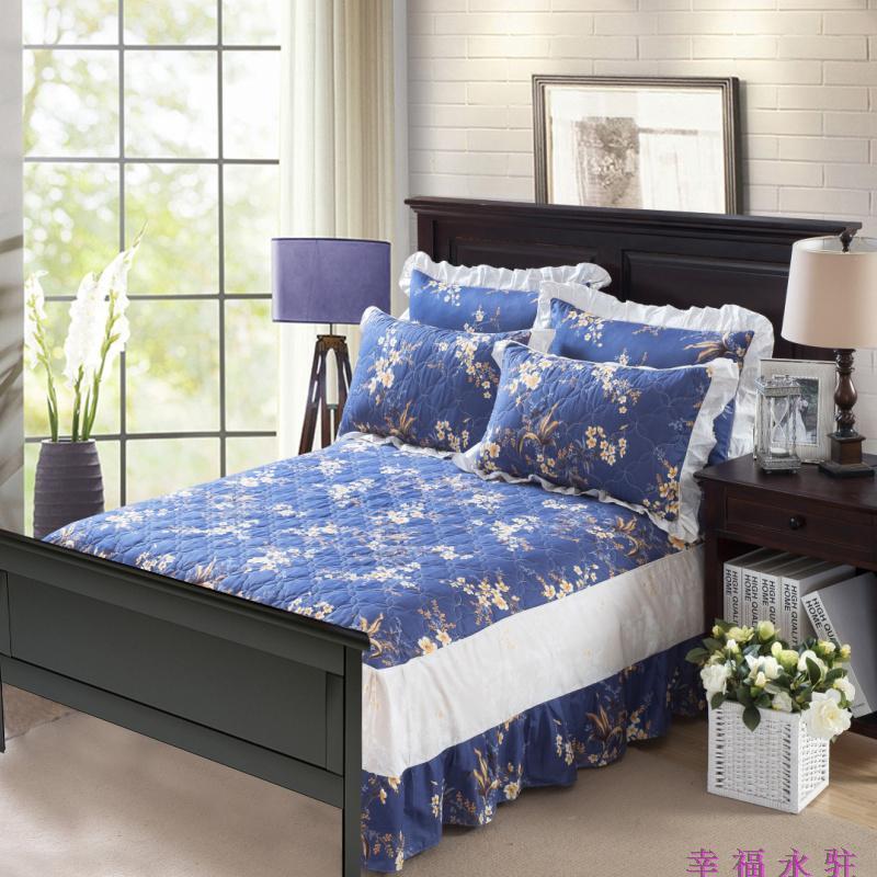 绗缝夹棉床罩全棉欧式无床尾床裙单件纯棉加棉床盖床尾有档板床