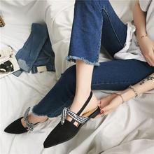 欧美2017夏季新款尖头蝴蝶结平底鞋包头百搭黑色穆勒凉鞋女