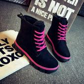 秋冬季韩版加绒保暖马丁靴女短靴学生棉鞋平底靴雪地靴女靴子女鞋