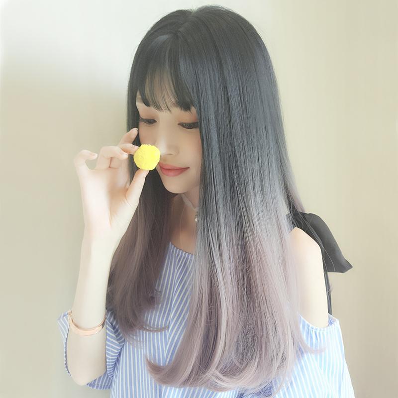 假发女长发挑染个性圆脸长直发韩国流行网红发型设计渐变色假发套