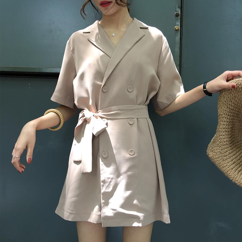 连衣裙系带收腰中双排扣袖雪纺夏季长款OL字裙女蝙蝠 自制