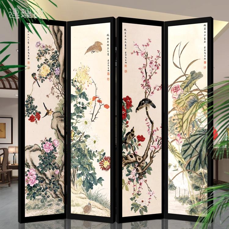 风水屏风隔断防水实木框客厅玄关时尚现代中式折屏大
